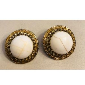 White Cabochon Gold Tone BERGERE Clip On Earrings